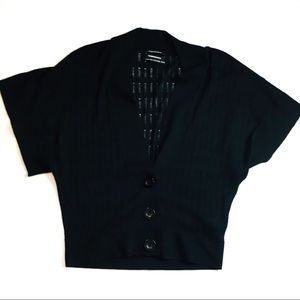 Club Monaco Black Silk Cashmere Pointelle Cardigan
